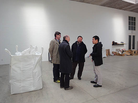 Jeremy Lewison in the studio of Ai Wei Wei, Beijing 2010. Photo: Tessa Praun