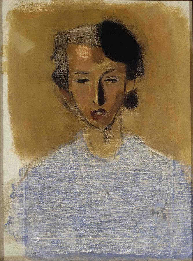 Portrait of a Girl in Blue & Brown (Inez) 1944<br> Oil on canvas 51 x 38 cm Finnish National Gallery/Ateneum Art Museum Yrjö & Nanny Kaunisto Collection  Photo: Finnish National Gallery/Hannu Aaltonen